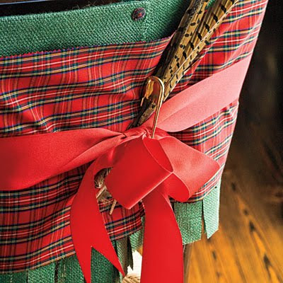Christmas dining chair decor with plaid fabric and feathers